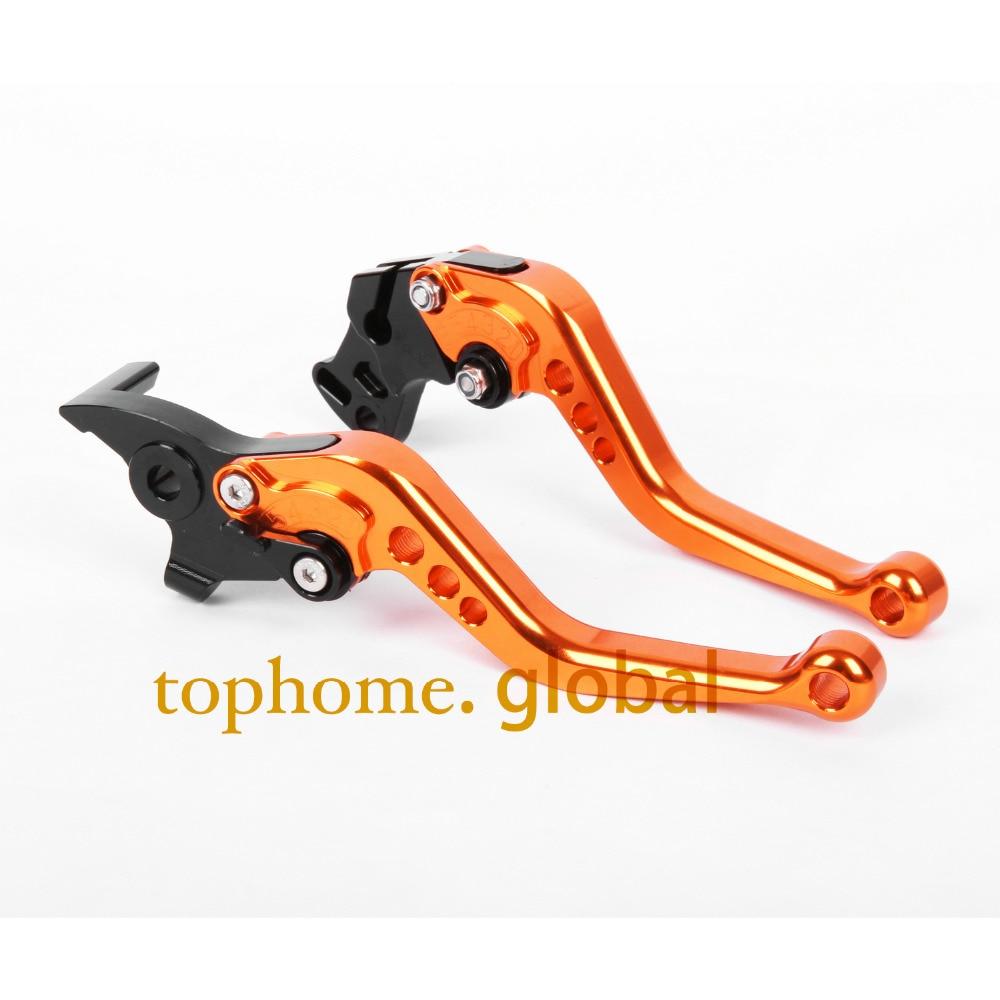 Short Size Motorcycle CNC Clutch Brake Levers For KTM 640 LC4 Supermoto  2003-2006 Orange&Black Handlebar Free Shipping