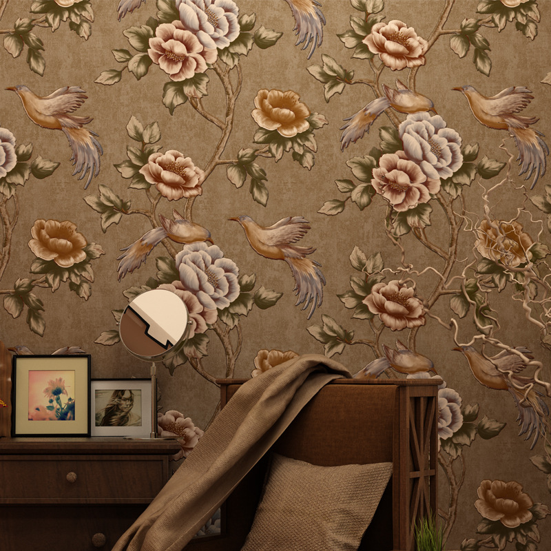 ФОТО beibehang Simple pastoral retro bird Wallpaper For Living Room Vinyl Wall Paper Background Wall Sticker Parlor Mural Home Decor