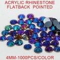 1000 unids 4mm Glitter Colores AB Flatback Rhinestones de Acrílico Puntas de Uñas 3D Pegatinas Arte Mochila Ropa de Diseño Decoraciones
