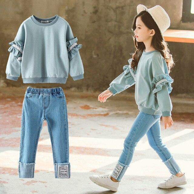 Ragazza Set di Autunno della Molla di Abbigliamento Per Bambini Set 2019 Solido Felpa + Jeans Pantaloni 2 Pcs sacchetto di Scuola Adolescente Ragazze Maniche Lunghe di Pizzo tuta