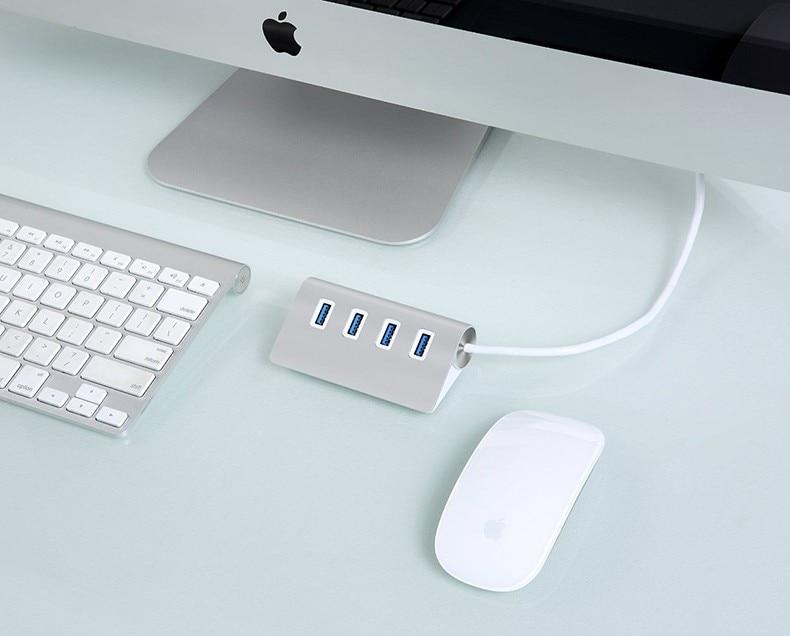 BinFul 4 Port 2.0&3.0 USB HUB 30cm Power Cable Multiple Silver USB Splitter Alloy Aluminium USB-HUB For Computer Media Charger 6