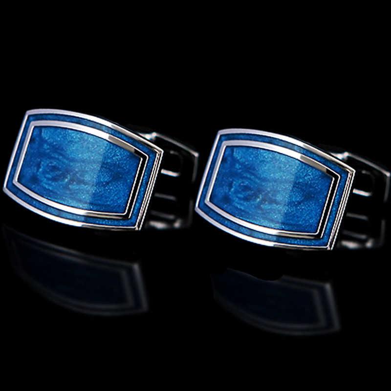 Kflk luxo 2020 camisa abotoaduras para presente masculino marca botões de punho azul esmalte manguito ligação alta qualidade abotoaduras jóias