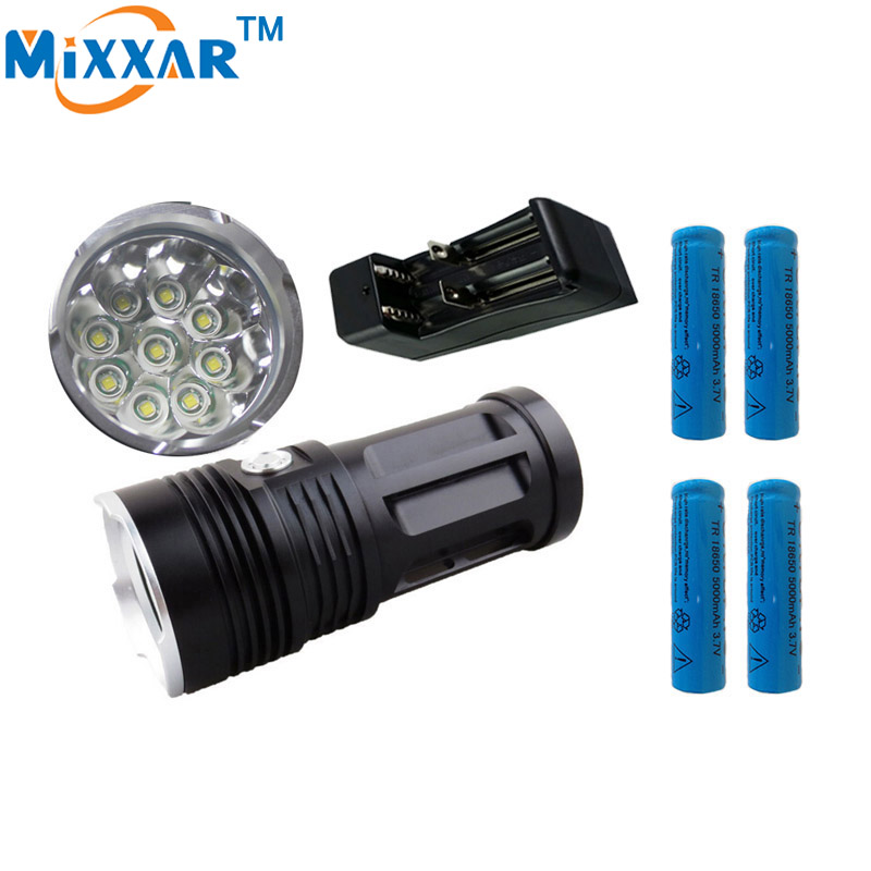 ФОТО zk45 led flashlight Torch MI-9 18000 lumen 9x Cree XM-L T6 tactical Lantern suitable 4x18650 battery  can use for Camping