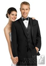 Custom Made Groom Tuxedo Black Groomsmen Shawl Lapel Wedding/Dinner Suits Best Man Bridegroom (Jacket+Pants+Tie+Vest) B257(China)