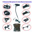 MU100-X3 Professional Musical Instrument Microphones with 8 Types Clips for Bass Cello Violin Guitar Flutes Piano Sax Vocal