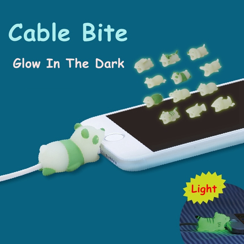 Glow In Dark Cable Bites Protector for IPhone Pvc Animal Cat Rabbit Tortoise Lion Spanish Newt Doll Model Funny Gift Kids ToyGlow In Dark Cable Bites Protector for IPhone Pvc Animal Cat Rabbit Tortoise Lion Spanish Newt Doll Model Funny Gift Kids Toy