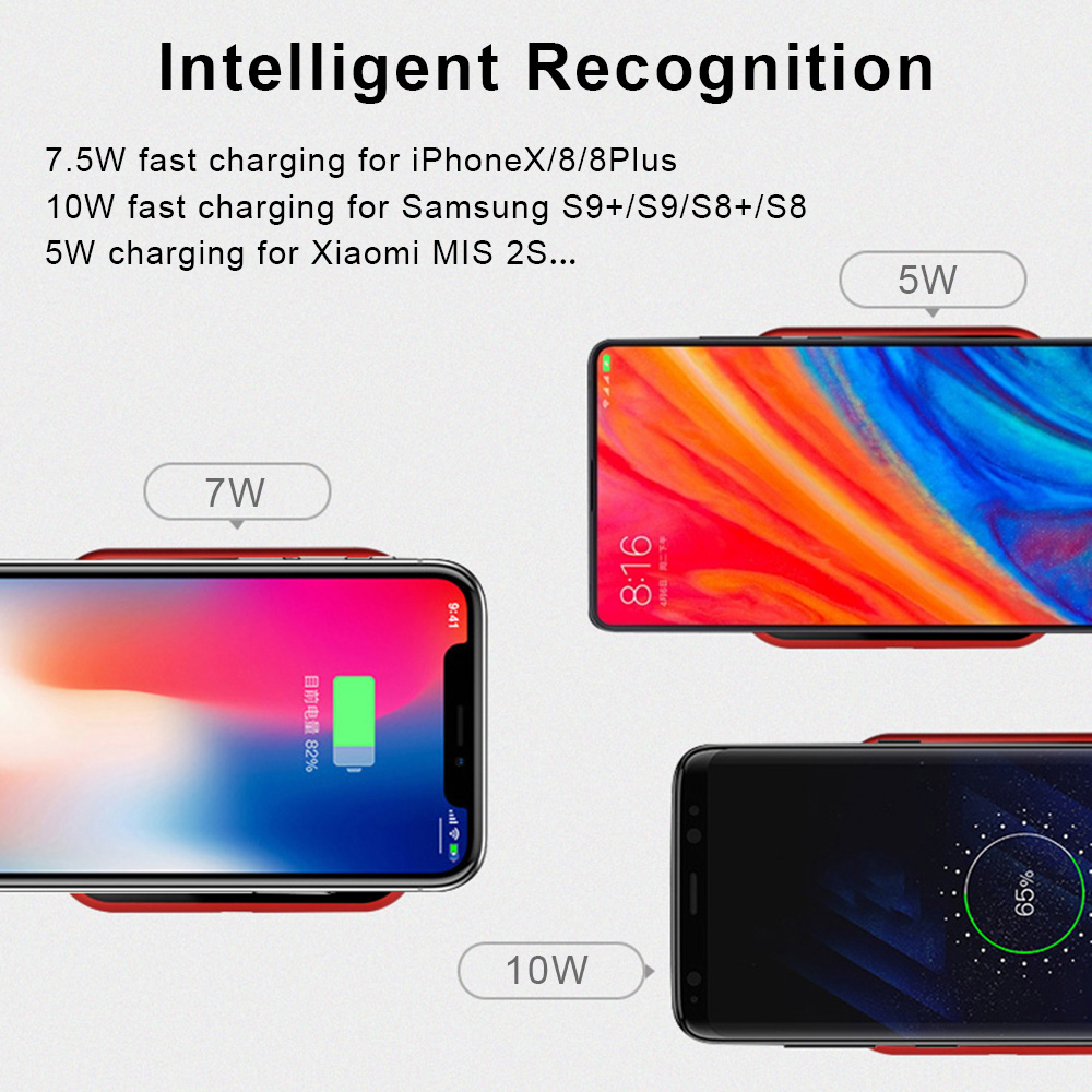 10W Qi Wireless Charger for iPhone X/8 Visible Fast Wireless Charging for Samsung Galaxy S9/S9+ S8 Note 8 Xiaomi Huawei