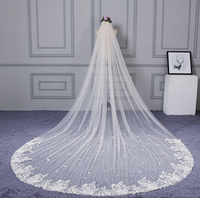 U SWEAR 2018 New Arrival Appliqued White Soft Flora Women Wedding Veils One Layer Cathedral Veil Bridal Veil For Wedding Dress