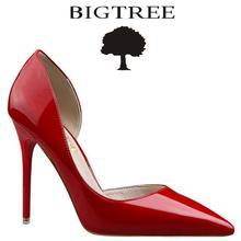 Bigtree Брендовая обувь женские туфли-лодочки; для женщин пикантные из двух частей Лакированная кожа высокий каблук Женская Рабочая обувь Sapatos femininos de Salto