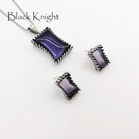 2019 S/S New arrival Big Blue Purple Black square stones necklace earrings jewelry set Stainless steel CZ stone jewelry BLKN0635