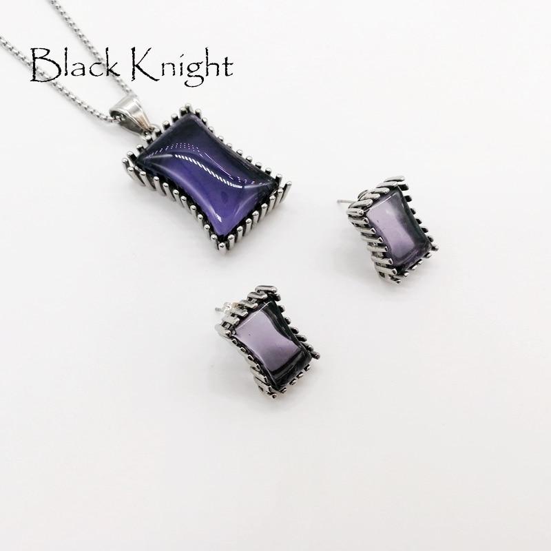 2019 S/S nouveauté grand bleu violet noir carré pierres collier boucles d'oreilles ensemble de bijoux en acier inoxydable CZ pierre bijoux BLKN0635