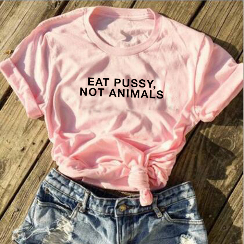Eat Pussy Not Animals Black Logo Womens T Shirt Vegan Ladies Girls Lesbian Tee