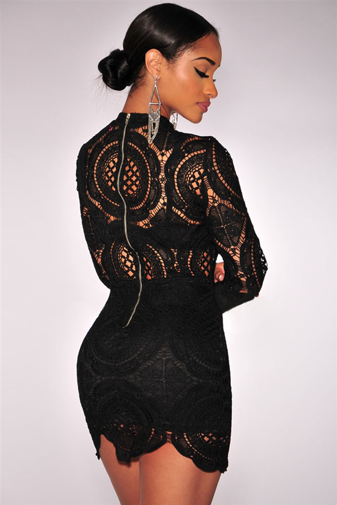 704b1c2e1691 elegent Woman Sexy autumn long sleeve celebrity party bodycon bandage Black  White Orange Crochet Lace High Neck Mini Dress 22179-in Dresses from  Women's ...