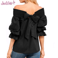 JasWell Sexy Off Shoulder Spring Summer Strapless Women Long Sleeve Blouse Bowknot Tops Slash Neck Shirts