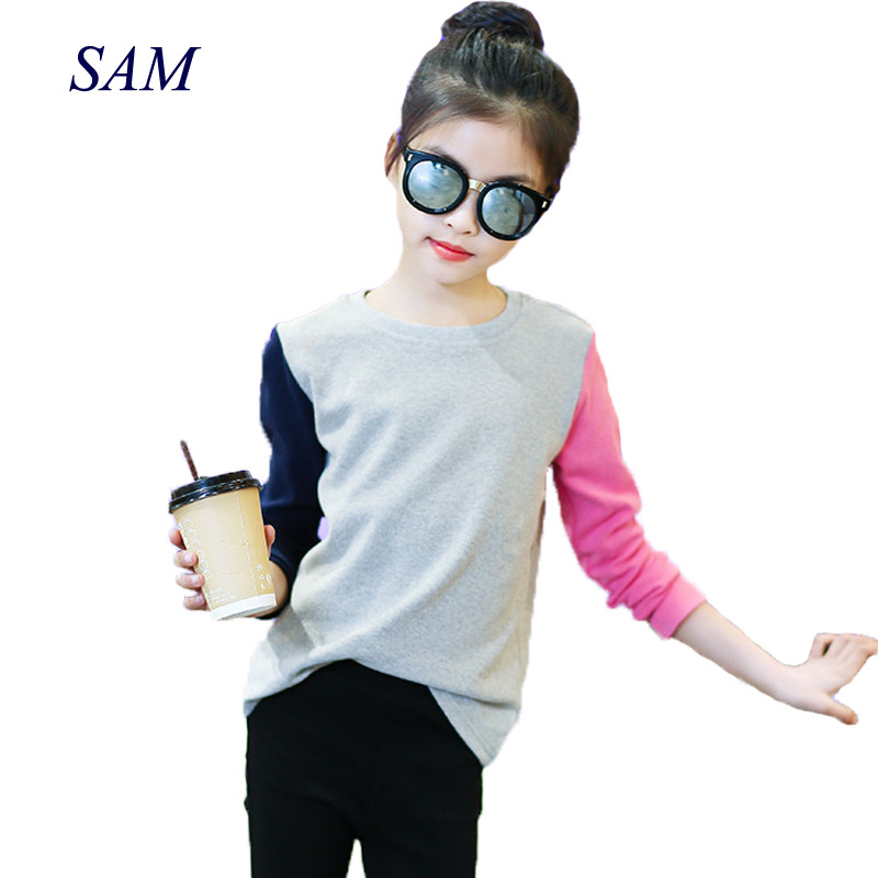 Girls Tops Kids Shirts Spring-Fall Long-Sleeve Baby Fashion Child Patchwork 4-12Y