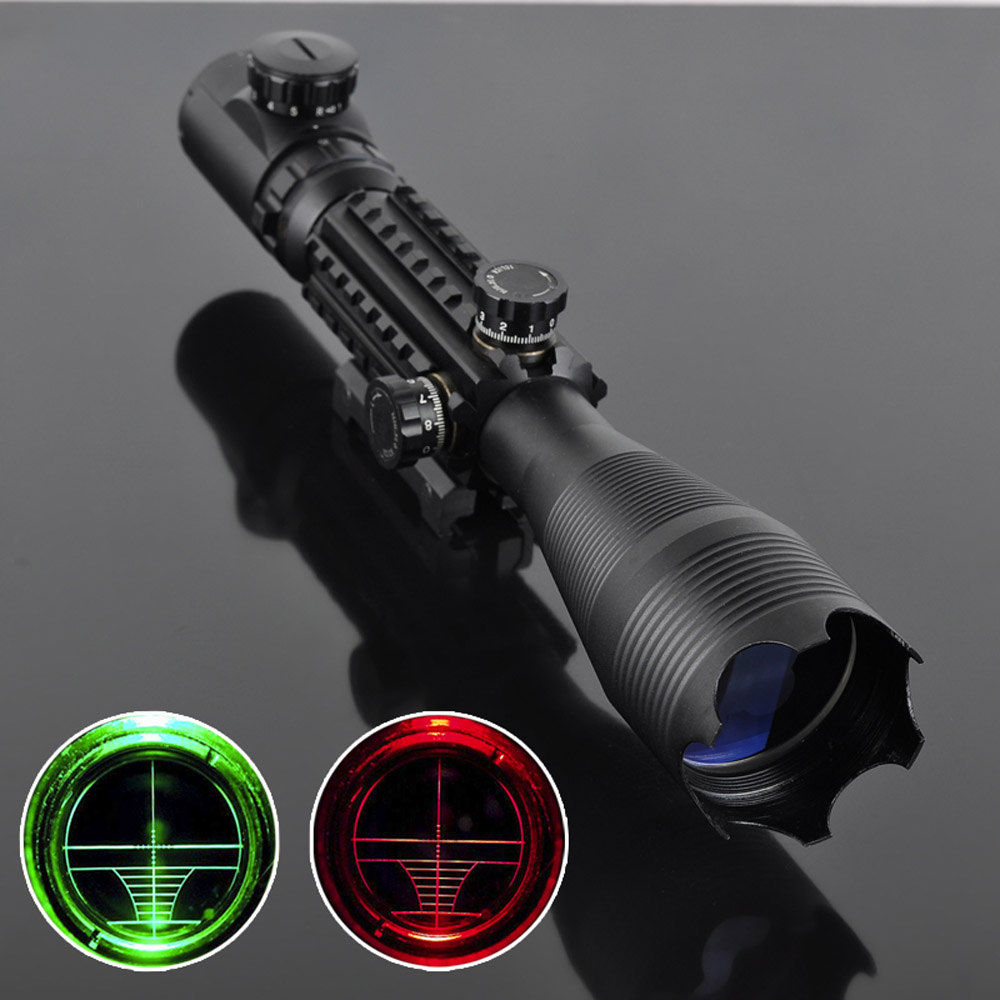 Professional Laser Scope 4-16x50 Red Green Illuminated Reticle Riflescope Sniper Scope with 20MM Rail Mounts for Hunting ship from us new 3 9x40 illuminated rifles scope with red laser