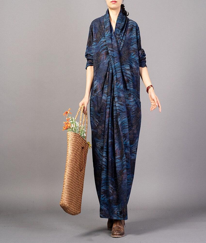 Robes Rétro Automne Cou Printemps Bleu Casual Croix Dames Marine 2018 Femme Robe Vintage Femmes Imprimée Lâche Élégant V zUqwzx7d