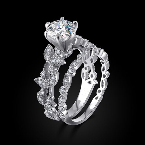 Unique Leaf Design Silver White Gold Plated Women\'s Engagement ...