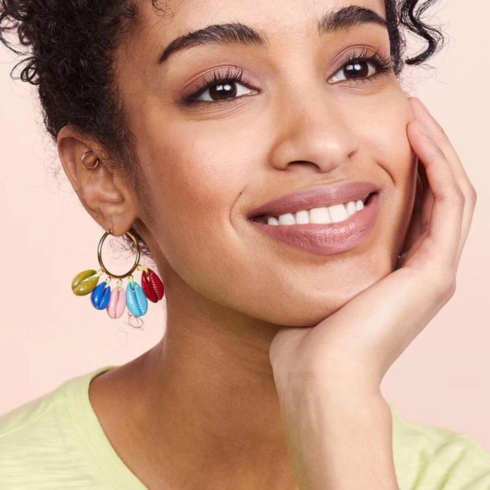 2019 Summer Hot Colorful Natural Sea Shell Drop Earrings Round Metal Handmade Stone Statement Jewelry Women's Boho Earrings