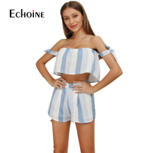 2019 womens two piece sets off shoulder open back crop top and shorts matching sets striped short sets plus size ensemble femme
