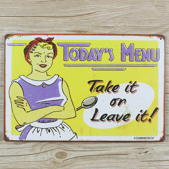 New Arrivals About Food Today Menu Metal Tin Signs RO 0420 Metal Plaque  Home Decor
