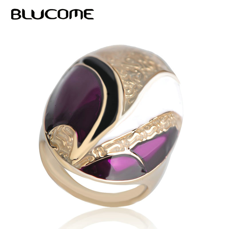 Blucome New Dubai Style Purple Large Wide Ring Gold Color Alloy Enamel Women Wedding Party Gifts Accessories Finger Jewelry retro style eagle claw shape alloy women s finger ring
