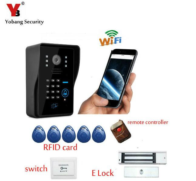 Yobang Security WIFI Video Door Phone,Waterproof Wifi Doorbell Wireless Intercom support Android and IOS operation system. 2015 free shipping wifi video door phone door bell intercom systems app can be run in android and ios devices