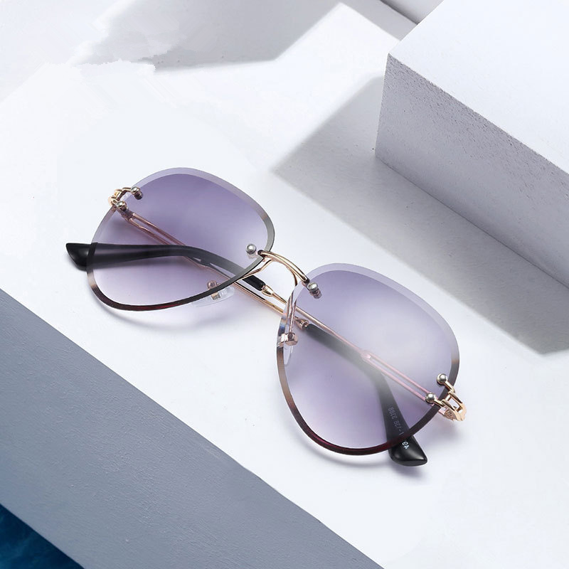 ASOUZ 2019 New Ladies Sunglasses UV400 Oval Boundless Metal Frame Glasses Classic Brand Designer Sports Driving Sunglasses