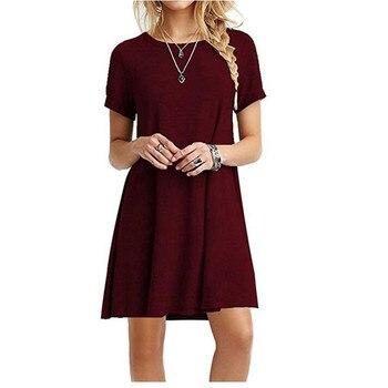High Quality Fashion Women Black Blue Dress Summer Short Sleeve O-Neck Casual Loose Dress Female Street Plus Size Dress Vestidos 6