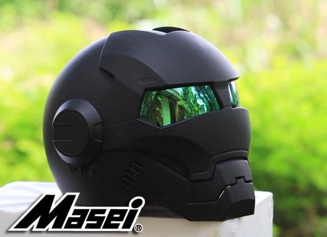 NEW Black MASEI IRONMAN Homem De Ferro capacete da motocicleta capacete metade retro capacete aberto da cara do capacete 610 ABS motocross casque