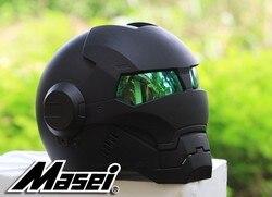 NIEUWE Zwarte MASEI IRONMAN Iron Man helm motorhelm retro half helm open helm 610 ABS casque motocross
