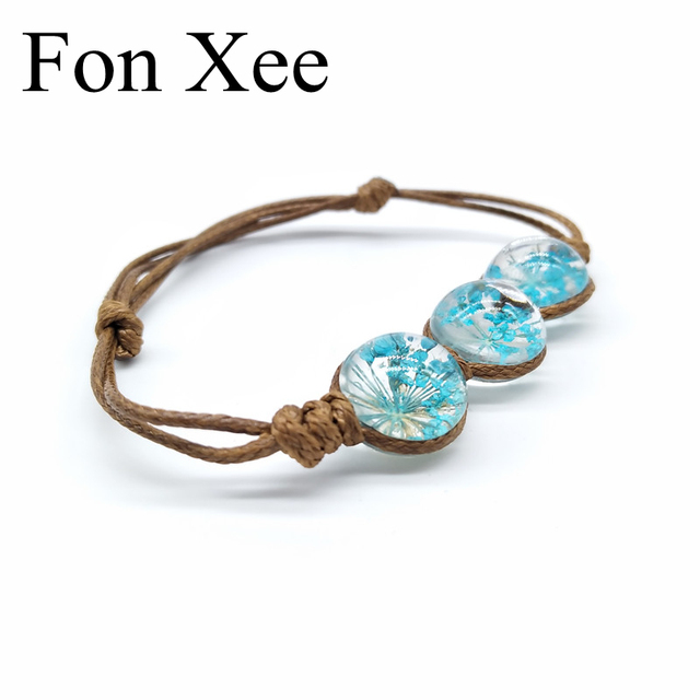Fon Xee Blue Dried Flowers Crystal Lucite Bracelets For Teachers School Students Vintage Pressed