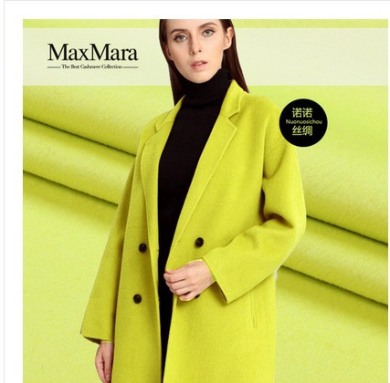 Yellow Green Double Cashmere Swiss Order Wool Fabric Thicker Coat Cashmere Wool Fabric wholesale cashmere cloth