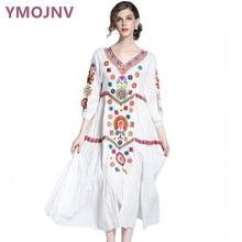 YMOJNV 2017 Female Summer Dress Bohemia White Dress Plus Size Women clothing Embroidery Party Vintage dresses