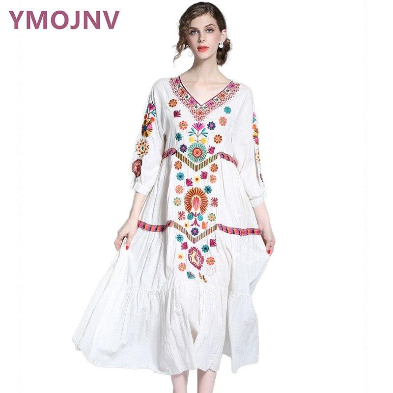 YMOJNV 2017 Female Summer Dress Bohemia White Dress Plus Size font b Women b font font