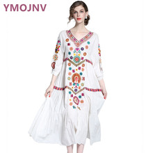 YMOJNV 2017 Do Sexo Feminino Verão Vestido Boemia Branco Vestido Plus Size roupas Femininas vestidos de Festa Bordado Do Vintage Com Decote Em V YM018