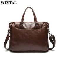 14 Inch Natural Genuine Leather Men Bag Men S Briefcase Handbags Business Oil Wax Men S