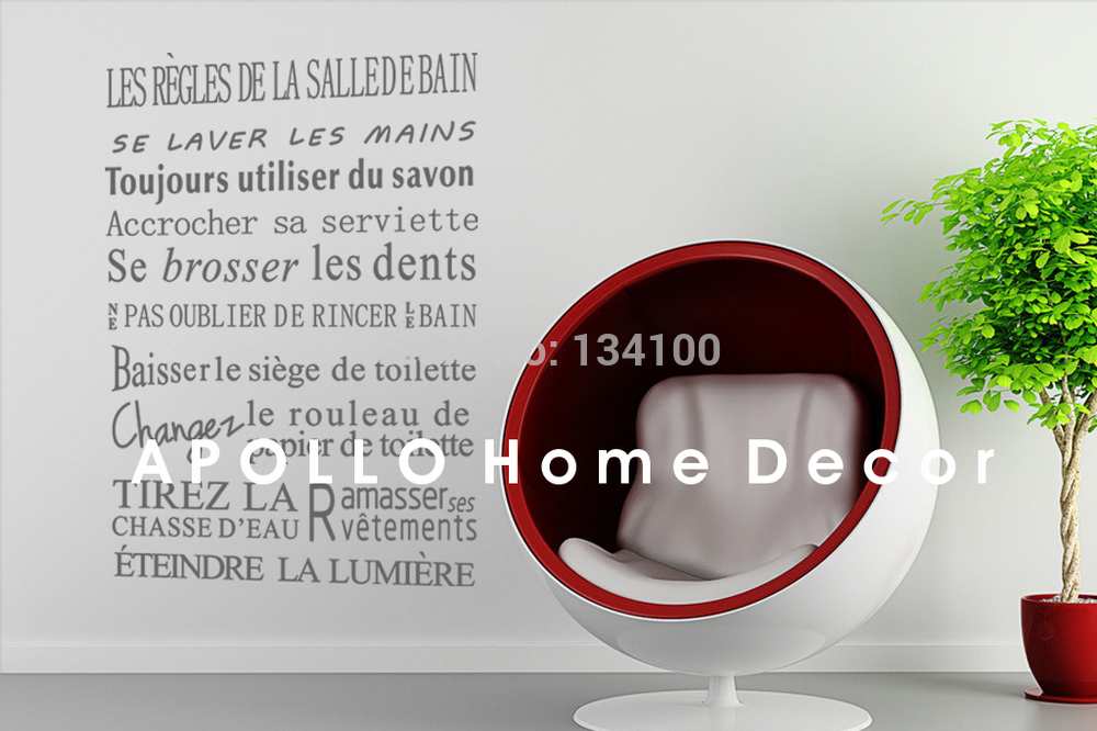 creative quotes for bathroom of french version waterproof wall stickers home decor vinyl art decals sticker - Stickers Salle De Bain Texte