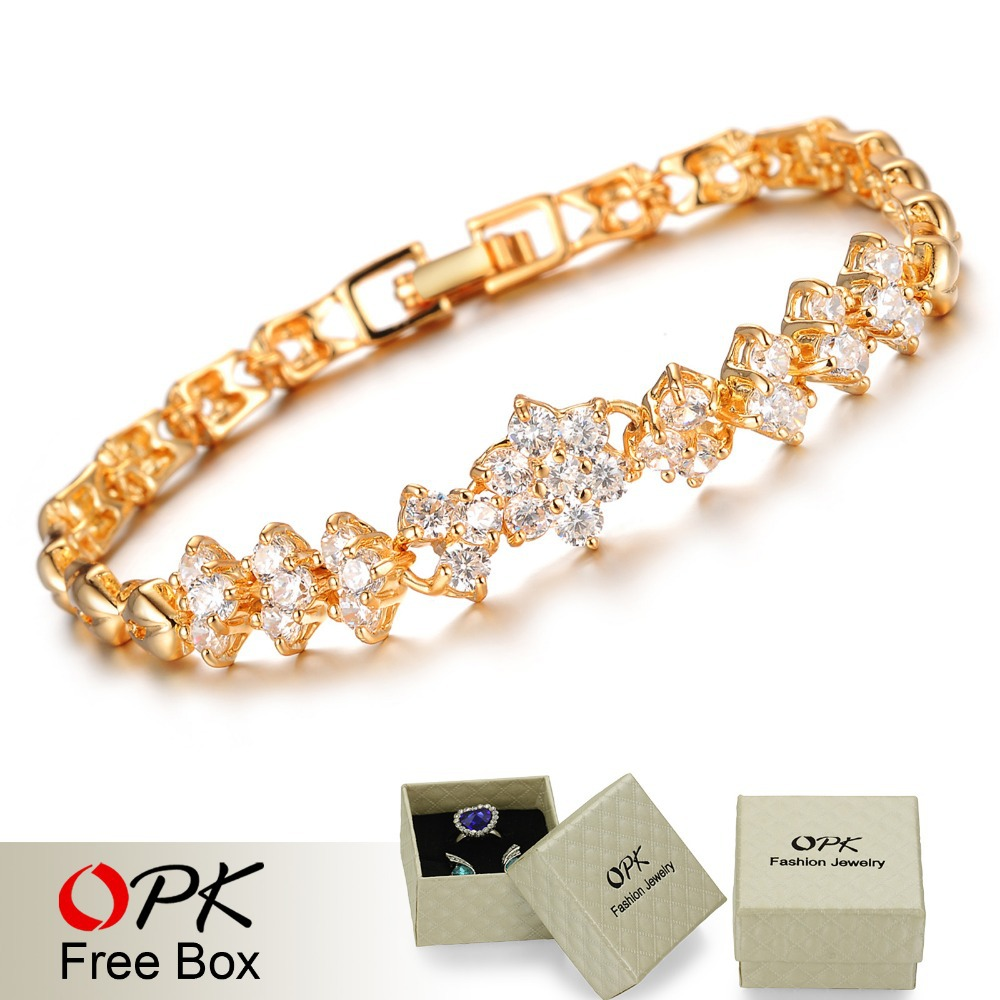 Aliexpress Com Opk New Fashion Gold Color Bracelets For Women Luxury White Stones Zirconia Wedding Jewelry Bangle Whole Accessories 429 From