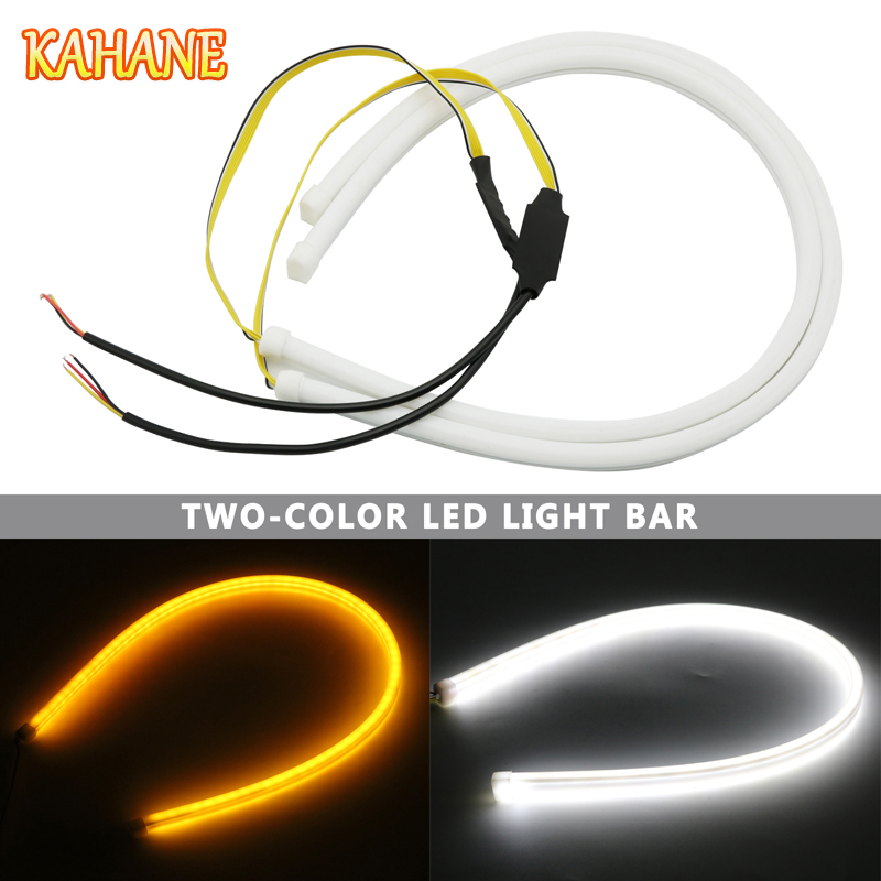KAHANE 2x 60cm Car Styling LED Flexible White/Amber Flow Daytime Running Light Soft Flowing Turn Signal Light Strip Waterproof new 2 pcs car led daytime running light turn signal light flowing yellow steady auto flexible styling strip crystal led bar drl