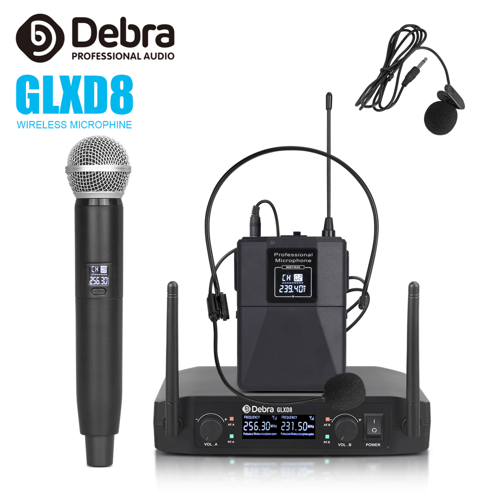 Debra Audio GLXD8 2 Channel With Handheld Or Lavalier & Headset Mic Wireless Microphone System For Karaoke