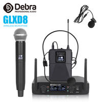 Debra Audio GLXD8 2 Channel with Handheld or Lavalier & Headset Mic Wireless Microphone System for karaoke