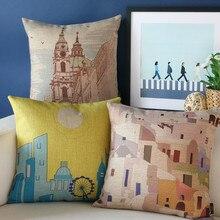 Путешествия Впечатление подушки, искусство Греции иллюстратор подушки, наволочка, диван подушка главная декоративные Подушки