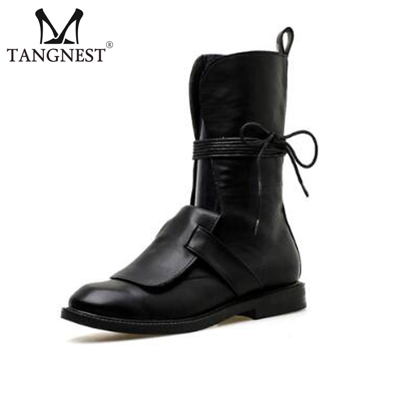 Tangnest NEW Autumn Motorcycle Boots For Women Fashion Cut out Lace Up Mid calf Boots Casual Pu Leather High Top Shoes