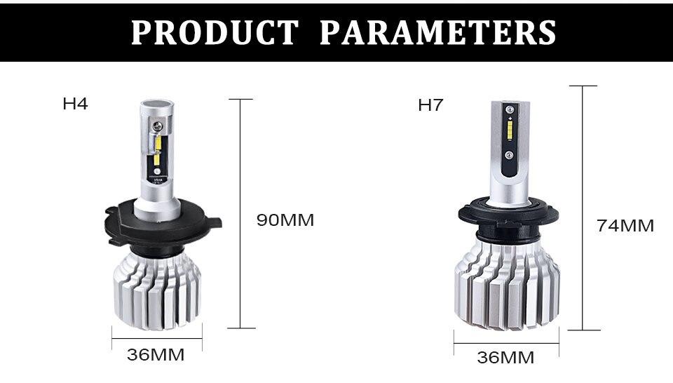 Foxcnsun H4 H7 LED Car headlight Fanless LEDs auto lamp H1 H3 H15 9004 9005 9006 9007 9012 12V 24V 50W CSP Hi Lo Beam 10000LM (10)