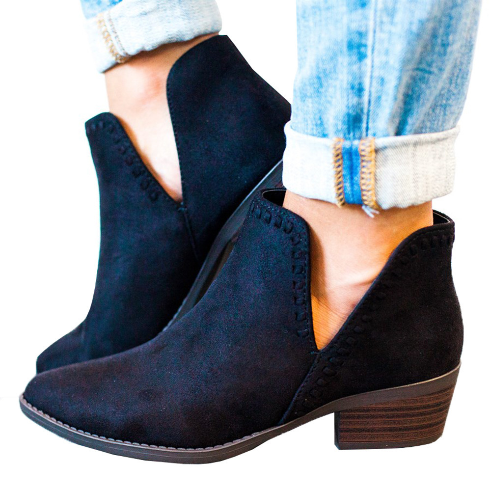 GOXPACER Autumn Women Boots Martin Boots Sewing Women Shoes Ankle Boots Mid Heel Cut Out Pointed Toe Female Fashion Plus Size недорго, оригинальная цена