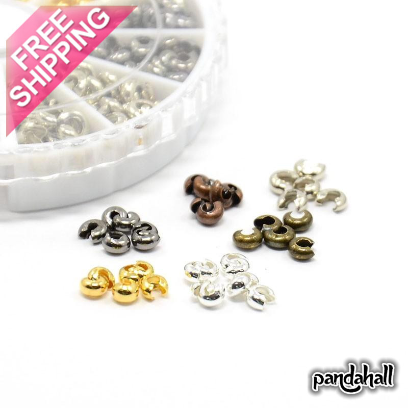 1 Box 6 Colors Iron Crimp Beads Covers end beads Jewelry findings Antique Bronze & Silver 4mm Hole: 1.5~1.8mm about 590pcs/box