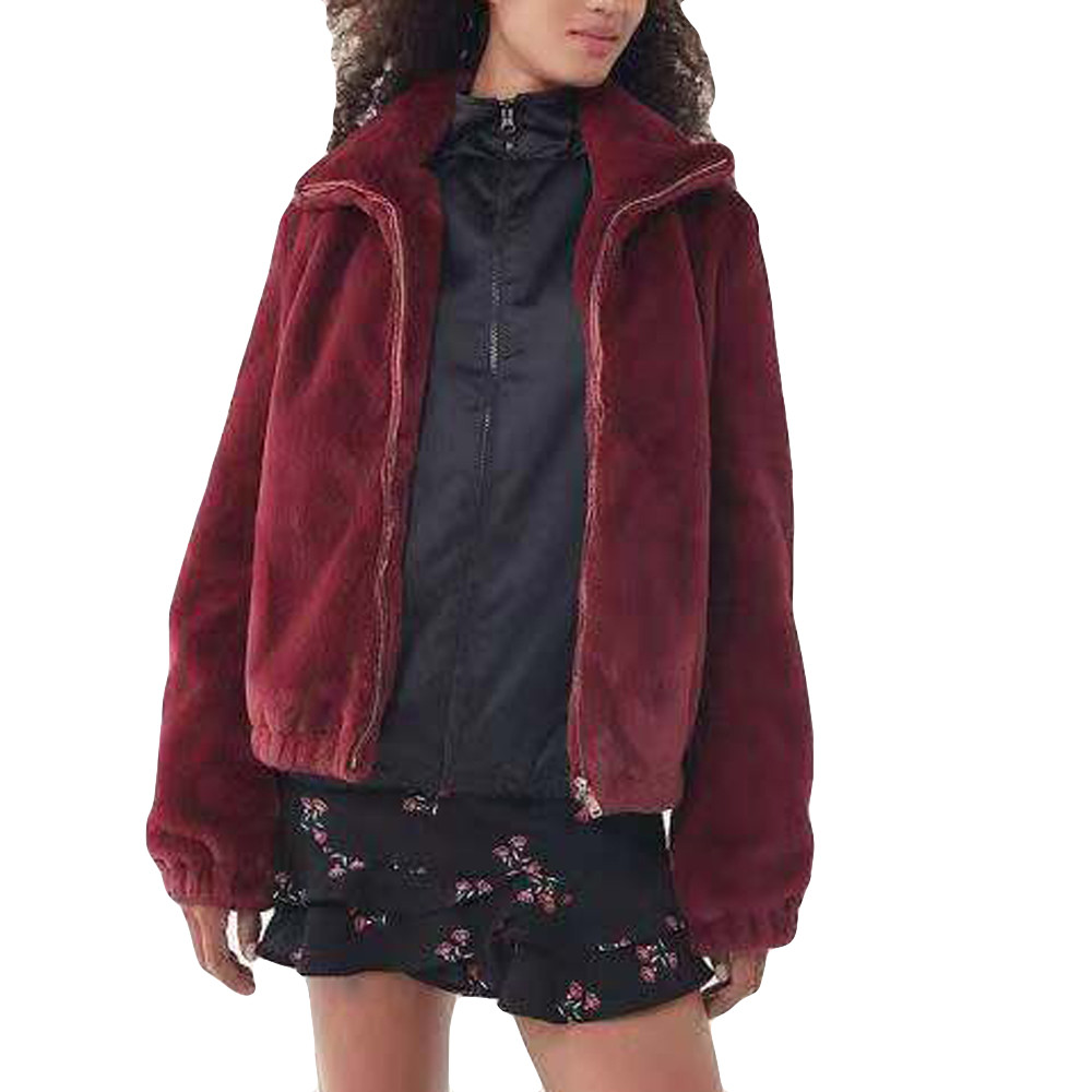 New High Quality Cotton Coat Women Fluffy Warm Outwear Plush Hooded Hairy Women Winter Coat Red Loose Trench Pure Color Nove8