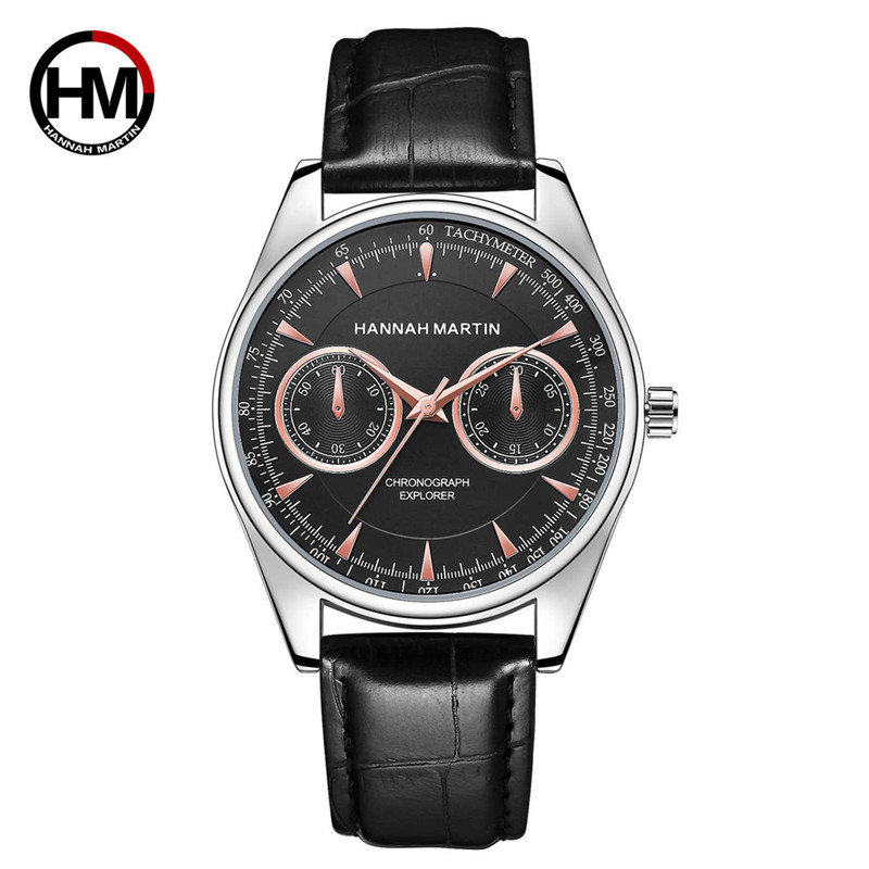 2018 Hannah Martin Luxury Men Date Leather Stainless Steel Sport Quartz Wrist Watch Relogio Masculino erkek saat Orologio Uomo men women fashion fashion hannah martin men date stainless steel leather analog quartz sport wrist watch dropshipping hot sale2