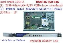 "19"" Rack J1900 Quad core Four giga ethernet Firewall Community Safety community server system With RAM 4G SSD 64G"